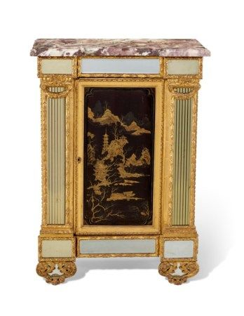 A FRENCH GILTWOOD LACQUERED AND MIRROR-INSET MEUBLE D'APPUI CONSTRUCTED INCORPORATING EARLY 18TH CENTURY ELEMENTS