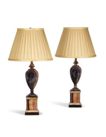 A PAIR OF ENGLISH BLUE JOHN, SLATE, AND WHITE MARBLE TABLE LAMPS THE BASES 19TH CENTURY