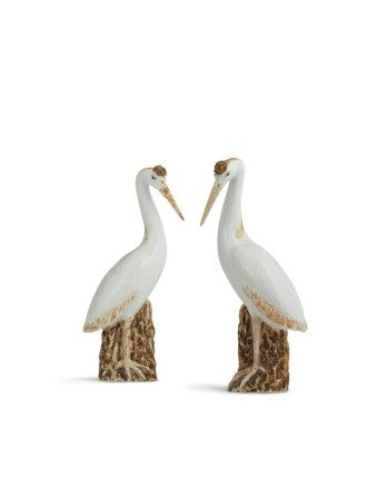 A PAIR OF CHINESE EXPORT PORCELAIN CRANES QING DYNASTY, 19TH CENTURY
