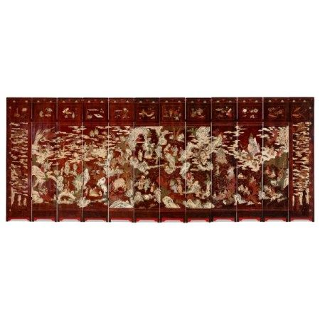 A CHINESE TWELVE-PANEL COROMANDEL SCREEN DATED BY INSCRIPTION TO THE FIFTY-FIRST YEAR OF THE KANGXI PERIOD, CORRESPONDING TO 1712