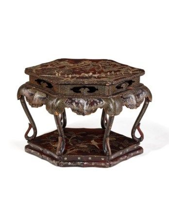 A SMALL CHINESE MOTHER-OF-PEARL INLAID BLACK LACQUER TABLE MING DYNASTY, 17TH CENTURY