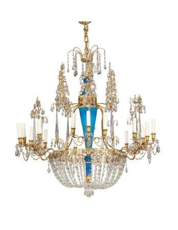 A RUSSIAN ORMOLU, CUT AND BLUE OPALINE GLASS EIGHTEEN-LIGHT CHANDELIER CIRCA 1800