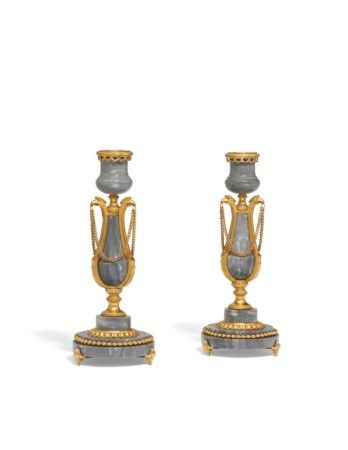 A PAIR OF RUSSIAN ORMOLU AND WHITE-VEINED GREY MARBLE CANDLESTICKS CIRCA 1795