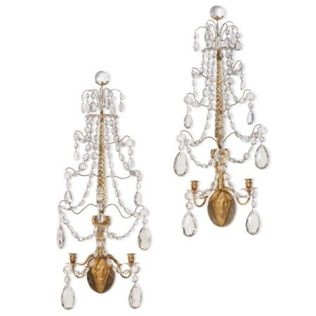 A PAIR OF RUSSIAN ORMOLU AND CUT-GLASS TWIN-BRANCH WALL LIGHTS LATE 18TH CENTURY