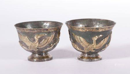 Tang Dynasty - Pair of Silver Gilt Phoenix Pattern Cups