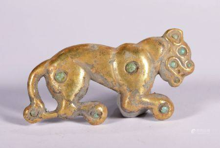 Warring State-Pure Gold with Gem Inlay Tiger Pendant