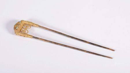 Tang Dynasty - Silver Gilt Gem Inlay Hairpin