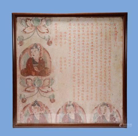Tang Dynasty - Colored Buddha Wall Painting