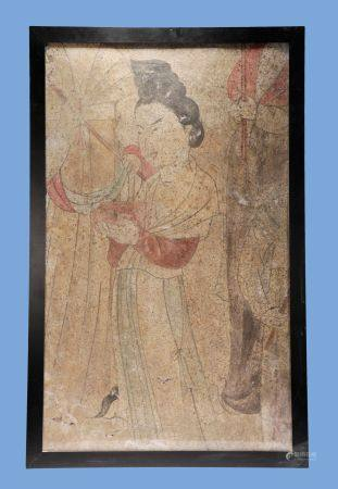 Tang Dynasty - Colored Figure Wall Painting
