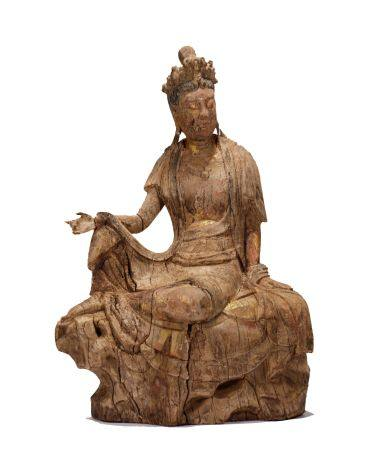 Song Dynasty - Colored Wooden Relaxed Guanyin Statue