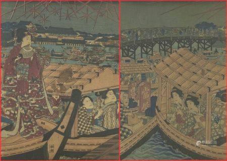 ENSEMBLE DE DEUX (2) ESTAMPES SUR PAPIER CREPON  Japon  Comprenant des geisha sur un marché flo