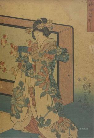 Utagawa Kuniyoshi (1797-1861): Oban tate-e, bijin debout devant un paravent tenant un oreiller.