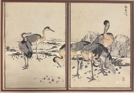 ESTAMPE JAPONAISE Les grues  (à vue): 31 x 21 cm