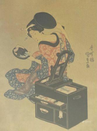 D'après Toyokuni III Kunisada Japon  Geisha au miroir  Estampe 23,5 x18 cm