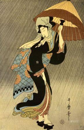 ESTAMPE JAPONAISE  Japon  Geisha à l'ombrelle Signé et cachet en bas à droite  (petites tâches,