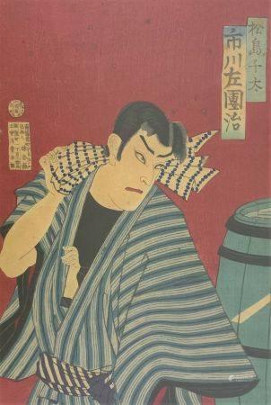 Attribué à Utagawa Kunichika (1835-1900): Oban tate-e, partie de triptyque, l'acteur Ichikawa S