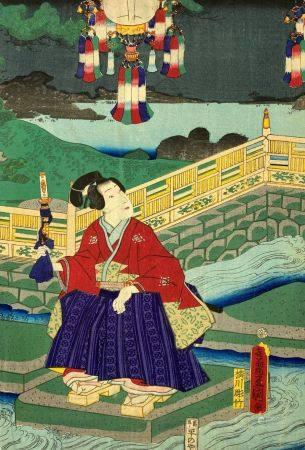 Utagawa Toyokuni III (1786-1865): Oban tate-e, partie de triptyque, samouraï assis sur une marc