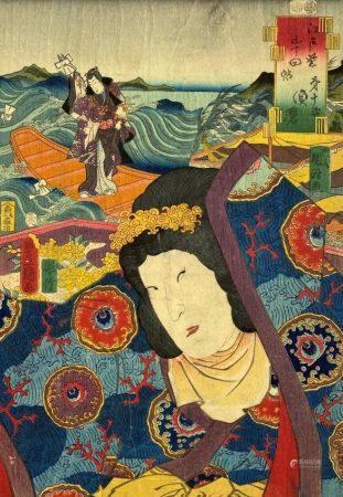Utagawa Toyokuni III (1786-1865): Oban tate-e de la série Edo murasaki gojûyo-jô, les cinquante