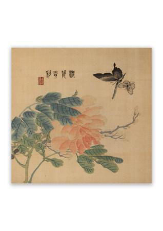 刺繍 花蝶図 立軸