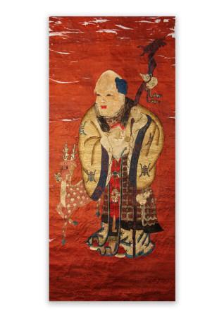 清代 壽老人 刺繍 立軸