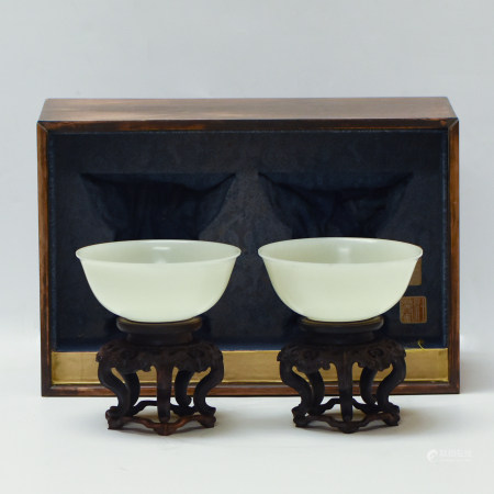 Qing Dynasty PAIR OF WHITE JADE CARVED BOWLS ON STAND IN WOODEN BOX