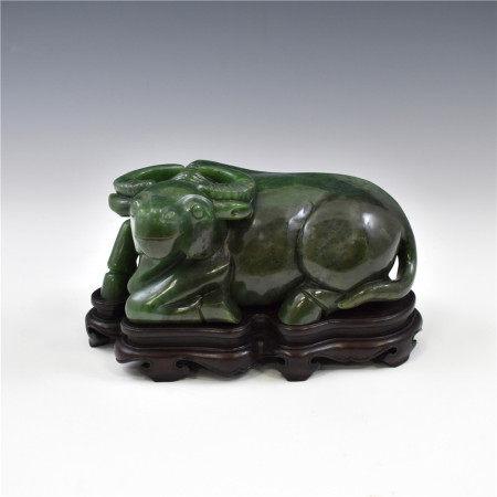 Qing Dynasty GREEN JADE WATTER BUFFALO EFIGY ON STAND