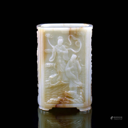 Qing Dynasty EXTRAORDINARY 19TH C. JADE BRUSH POT IMMRTAL RELIEFS