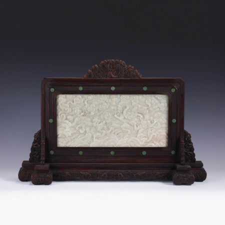 Qing Dynasty QING WHITE JADE CARVED DRAGON TABLE SCREEN