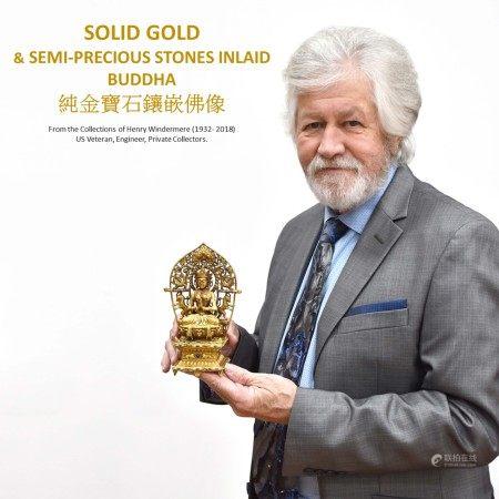 Qing Dynasty SOLID GOLD & STONES INLAID BUDDHA