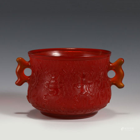 Qing Dynasty QIANLONG PEKING GLASS CARVED CENSER