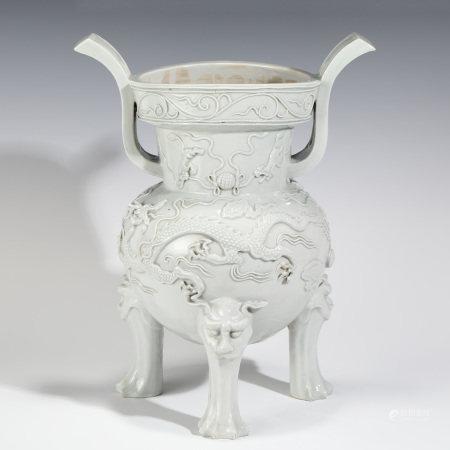 Ming Dynasty MING BLANC DE CHINE DRAGON RELIEFS TRIPOD CENSER