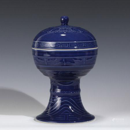 Qing Dynasty QING GUANGXU BLUE GLAZED LIDDED HIGH BOWL