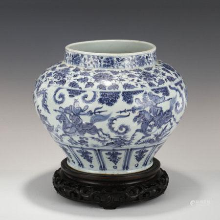 Yuan Dynasty YUAN BLUE & WHITE BATTLE SCENE JAR ON STAND
