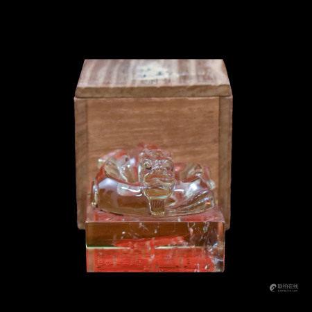 Qing Dynasty QING DRAGON CRYSTAL SEAL IN WOODEN BOX