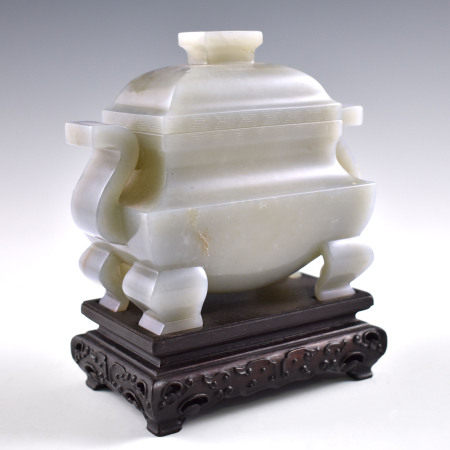Qing Dynasty CHINESE JADE FANGDING CENSER ON STAND