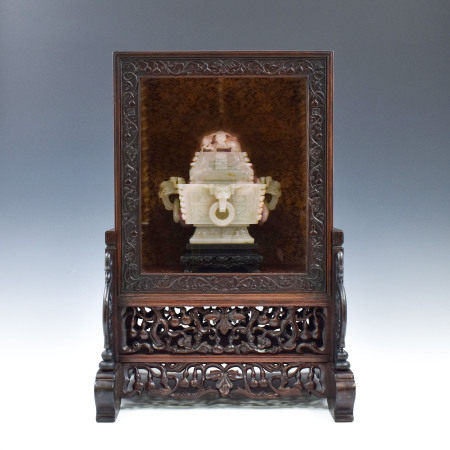 Qing Dynasty JADELIDDED SQUARE CENSER IN DISPLAY BOX