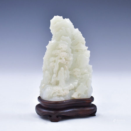 Qing Dynasty JADE CARVED MOUNTAIN ON STAND