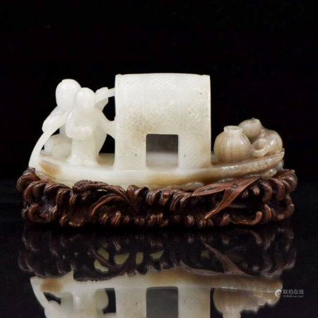 Qing Dynasty CHINESE JADE OF TWO FIGURES ON BOAT