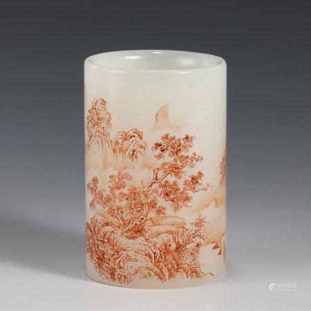 Qing Dynasty QIANLONG PEKING GLASS CARVED BRUSH POT