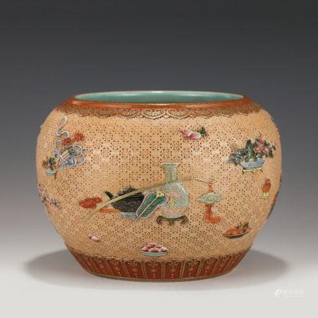 Qing Dynasty QIANLONG PORCELAIN CARVING LARGE BRUSH WASHER