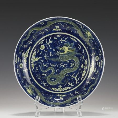 Qing Dynasty DAOGUANG REVERSED YELLOW & BLUE DRAGON PLATE