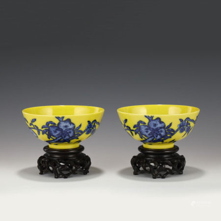 Qing Dynasty PAIR YONGZHENG YELLOW GLAZED BOWLS ON STANDS