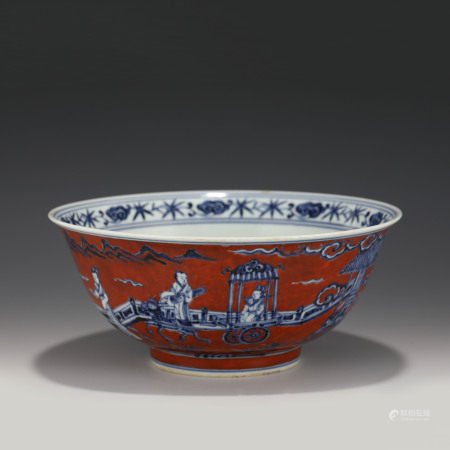 Ming Dynasty MING XUANDE BLUE & WHITE ON IRON RED BOWL
