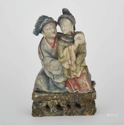 A SHOUSHAN STONE CARVING OF CHINESE FIGURES, MID-20TH CENTURY