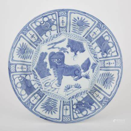 A BLUE AND WHITE LION CHARGER, MING DYNASTY
