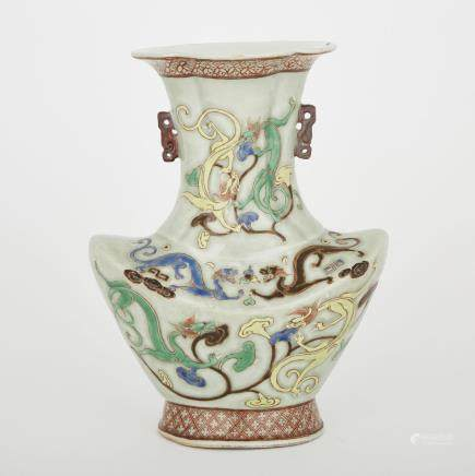 A FAMILLE ROSE DRAGON AND LINGZHI CELADON VASE, QIANLONG MARK, REPUBLICAN PERIOD