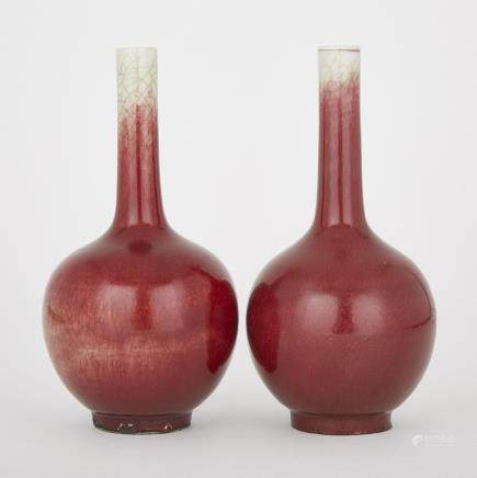 A PAIR OF COPPER RED FLAMBÉ VASES, 19TH CENTURY