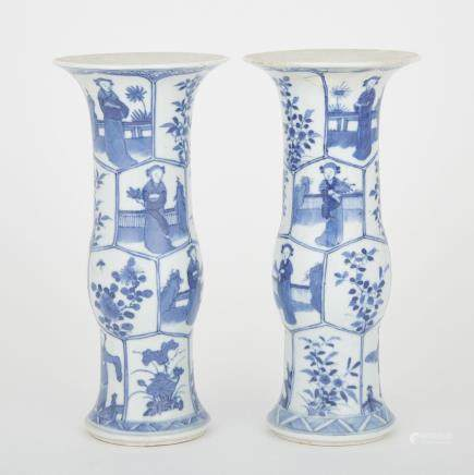 A PAIR OF BLUE AND WHITE GU VASES, 19TH CENTURY