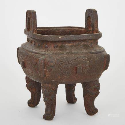 A CHINESE 'DING'- TYPE IRON CENSER, LATE QING DYNASTY