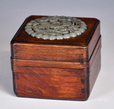 鑲玉硬木方盒